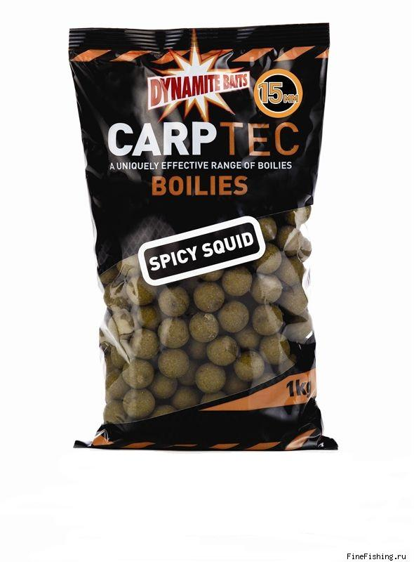 Бойлы тонущие Dynamite Baits 15 мм. Spicy Squid CarpTec 1 кг.